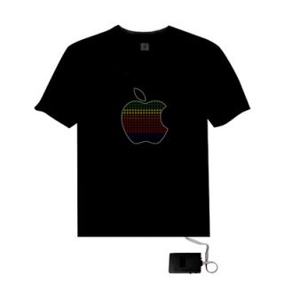 sound activated apple shape led light el music t shirt more options