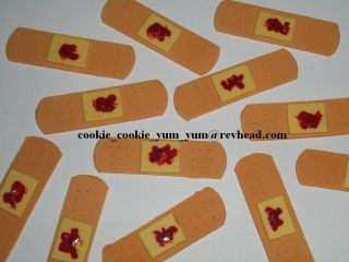 band aid plasters GROSS CAKE DECORATIONS TOPPERS cupcakes blood freaky