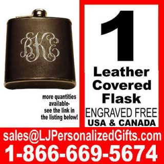 Engraved Personalized Leather Flask Groomsmen Bridesmaid Wedding