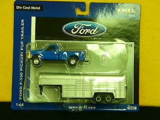 64 Blue Ford F 350 Pickup Truck with Silver Livestock Trailer Ertl N