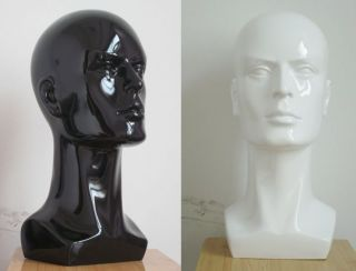 Male black white 18 Mannequin Head Torso bust for Display cap hat