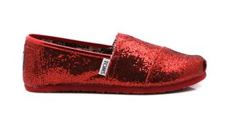 toms classic red glitter shoes youth womens all sizes