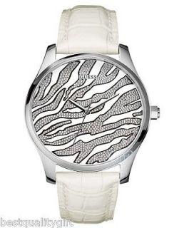 LEATHER STRAP WITH SILVER ZEBRA ANIMAL PRINT DIAL WATCH W70020L1 NEW
