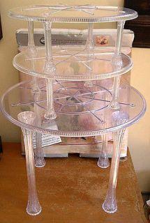 WILTON 17 ROUND CRYSTAL LOOK SEPARATOR SET 3 Tiers Pillars Cake Stand