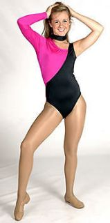 Cheerleader Danzteam Pink & Black Shiny Lycra Leotard S or M