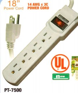 New 4 Outlet Power Strip with 18 Cord Circuit Breaker