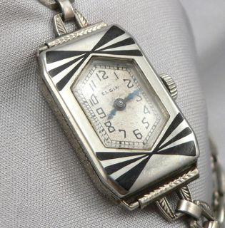Antique ART DECO White GOLD FILLED & Black ENAMEL ELGIN Ladies