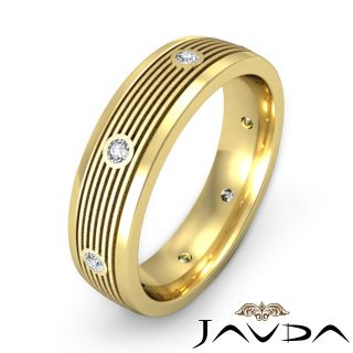 Round Bazel Diamond Mens Eternity Wedding Band Solid Ring 14k Gold