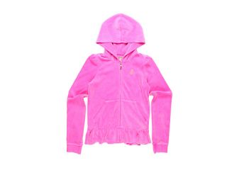 Juicy Couture Kids Velour Ruffle Hem Hoodie (Toddler/Little Kids/Big