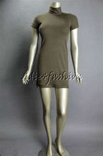with tag BRUNELLO CUCINELLI Brown Ribbed Jersey Stretchy Dress Small