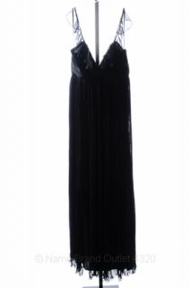 ABS Allen Schwartz 6 s Black Pleated Chiffon Ruffle Neck Gown Dress $