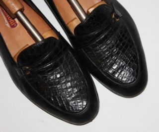 Testoni $1375 Black Leather Crocodile Trim Loafers Shoes 10 5 OMG
