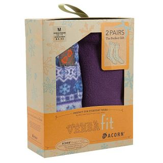 Acorn Versafit Fleece Socks 2 Pair Gift Box Set Icelandic Blue Plum