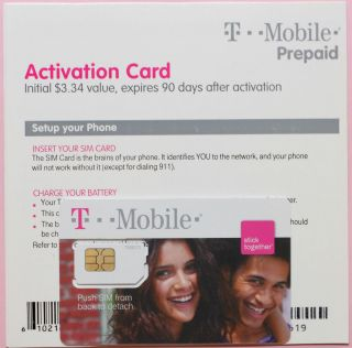 Prepaid T Mobile Kit w Activation Kit Sim Card $3 34 Airtime