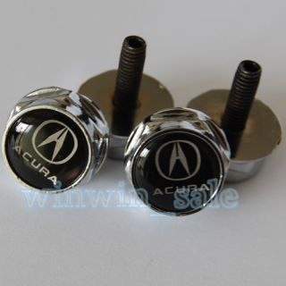 4pcs New Metal Acura Emblem Logo Auto License Plate Frame Caps Bolts
