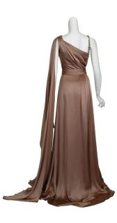 Reem Acra Decadent Mocha Silk Rhinestone Beaded Draped Evening Gown