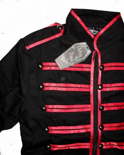 Black Red Military Mens Jacket Goth Adam Ant s M L XL Coat Braid Cyber