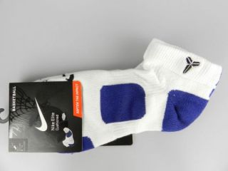 Nike Elite Kobe Bryant New White Dri Fit Basketball Socks Size 8 12