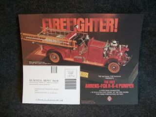 1922 Ahrens Fox R K 4 Pumper Fire Engine Die Cast Model Franklin Mint