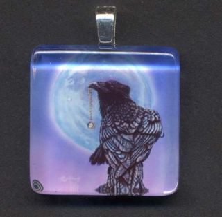 Akiko Original Crow Raven Blue Moon Glass Tile Pendant
