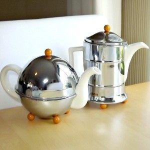 1954 MID CENTURY Rare ALDRIDGE & Co TEA & COFFEE Chrome Bakelite WHITE