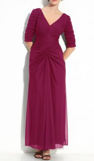 NWT $189 ALEX EVENINGS Ruched Long Sleeve PLUS SZ Stretch Gown Mother