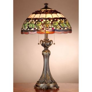 Dale Tiffany Aldridge Stained Glass Table Lamp Antique Bell Bronze