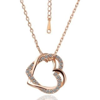 18K Rose Gold GP Swarovski Crystal Heart Necklace N60