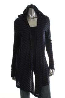 Allen New Blue Striped Thermal Hooded Open Front Cardigan Shirt Top M