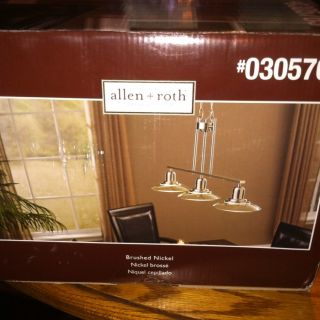 Allen Roth 3 Light Brushed Nickel Island Light With Clear Shade