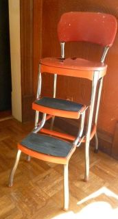 Step Stool Red Cosco Metal High Chair Stool Seat Fold Out Steps 1950S