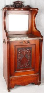 L135P ANTIQUE ENGLISH ART NOUVEAU CARVED WALNUT + MARBLE COAL HOD
