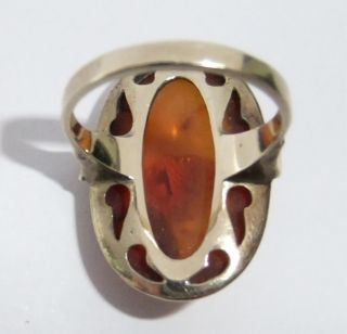 VINTAGE ART DECO ERA 8K SOLID GOLD NATURAL BALTIC AMBER RING