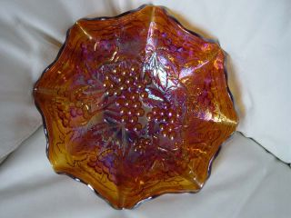 Carnival Glass Imperial Grape 9 Ruffled Bowl in Amber REDUCED