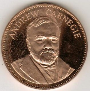 1971 ANDREW CARNEGIE GREAT AMERICANS FRANKLIN MINT Bronze Proof Coin