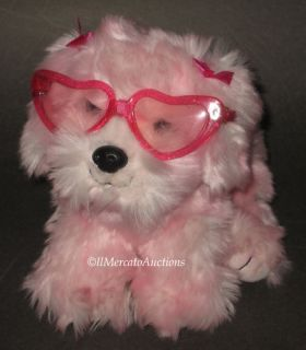 Animal Alley Plush Pink Puppy Dog Toy Heart Sunglasses