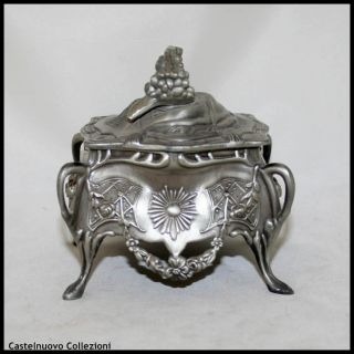 Antique Pewter Art Nouveau Jewelry Box Case France circa 1900