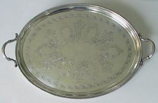 Antique Early American Ivy Large Silver Tray Hallmarks