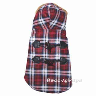 918 XS XL Red Hooded Padded Flannel Coat Dog Clothes