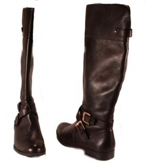 Calvin Klein Hayden Womens Waxy Tumbled Brown Leather Knee High Boots