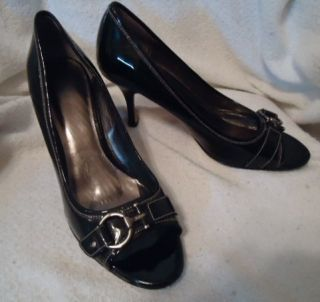 AK ANNE KLEIN WOMENS BLACK LEATHER PUMPS HEELS SHOES SLIDES SZ 9 1 2 M