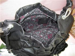 Brighton Anthea Hobo Italian Leather Flower Handbag Purse $425 Black