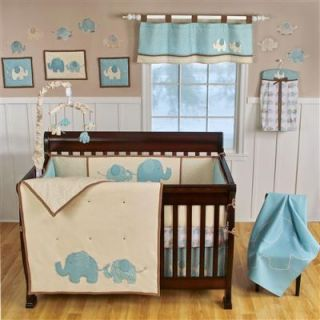 SPOTTED ELLIE ELEPHANT 4PC GIRL BOY CRIB BEDDING SET AQUA/BEIGE/DOTS