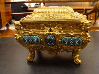 Antique Brass Ornate Jewelry Box Enamel Gold Pre 1900