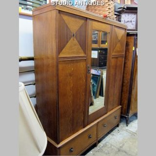 ART DECO ARMOIRE Vintage WARDROBE BEVELED EDGE MIRROR Arts & Crafts