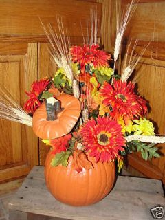 Silk Flower Pumpkin Table Arrangement Orange Yellows Fall Leaves