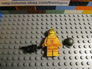Lego Army Soldier Minifigure w Helmet and Machine Gun New Mint