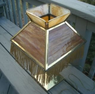 OLD MISSIONS ARTS & CRAFTS SLAG GLASS BRASS TABLE LAMP