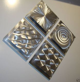 Modern Abstract Metal Wall Art Decor 4 Squares Sculpture