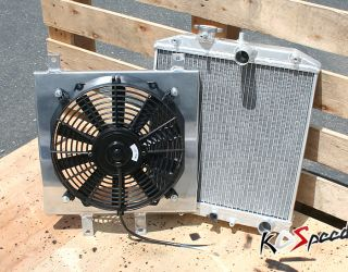 MT 2 Row Dual Core Aluminum Racing Radiator Cooling Fan Shroud